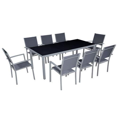 Table de jardin 8 personnes et 8 chaises en aluminium for Table jardin 8 personnes