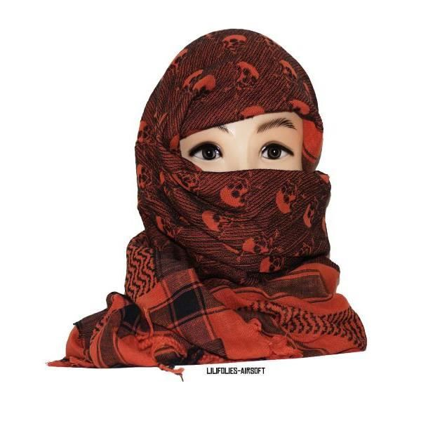 keffieh foulard palestinien 100 coton unisexe brun orange et noir avec cr nes 100 x 100 cm. Black Bedroom Furniture Sets. Home Design Ideas