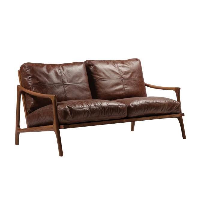 Canap en cuir marron et structure noyer hermes meuble for Meuble contre canape