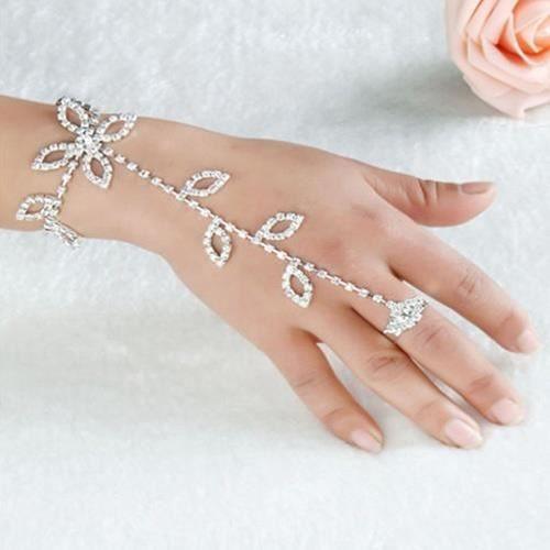 de cristal spécial strass esclave unique lien Pied Bague main gauche ...