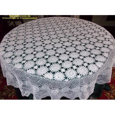 nappe crochet fait deo ronde blanche 150 achat vente nappe de table cdiscount