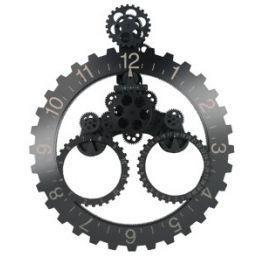 Horloge engrenages avec date noir et blanc achat vente horloge m tal et plastique soldes - Horloge avec mecanisme apparent ...