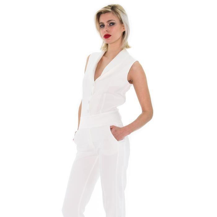 combinaison blanche version smoking blanc achat vente combinaison cdiscount. Black Bedroom Furniture Sets. Home Design Ideas