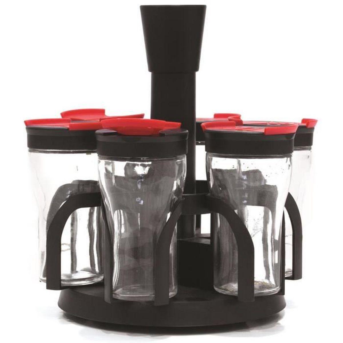 coffret carrousel 6 pots a epices avec tourniquet design luxe noir achat vente pot pices. Black Bedroom Furniture Sets. Home Design Ideas