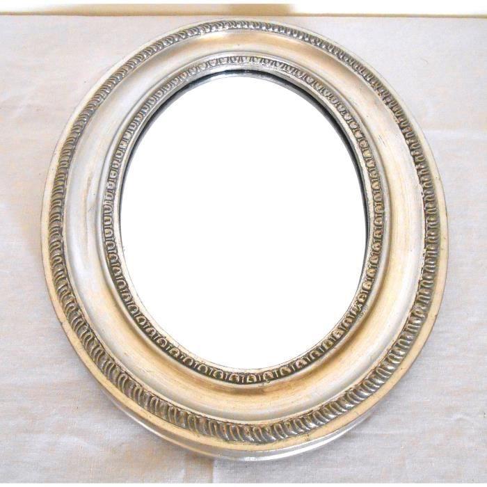 miroir mural biseaut ovale argent 39x29x3 cm achat vente miroir cadeaux de no l cdiscount. Black Bedroom Furniture Sets. Home Design Ideas
