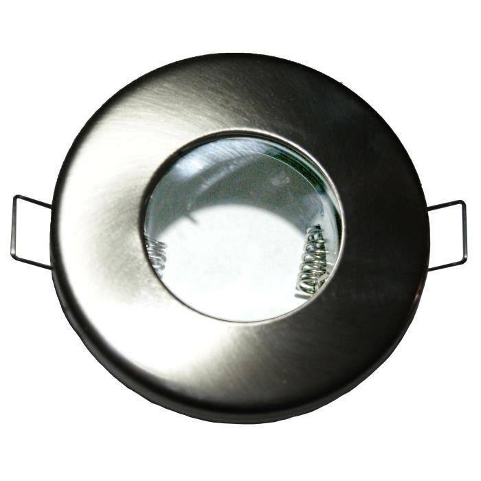 spot encastrable pour salle d eau ip65 acier achat vente spot encastrable pour salle acier. Black Bedroom Furniture Sets. Home Design Ideas