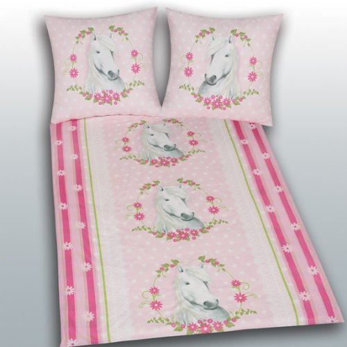 Cheval parure housse de couette taie rose achat for Housse couette cheval