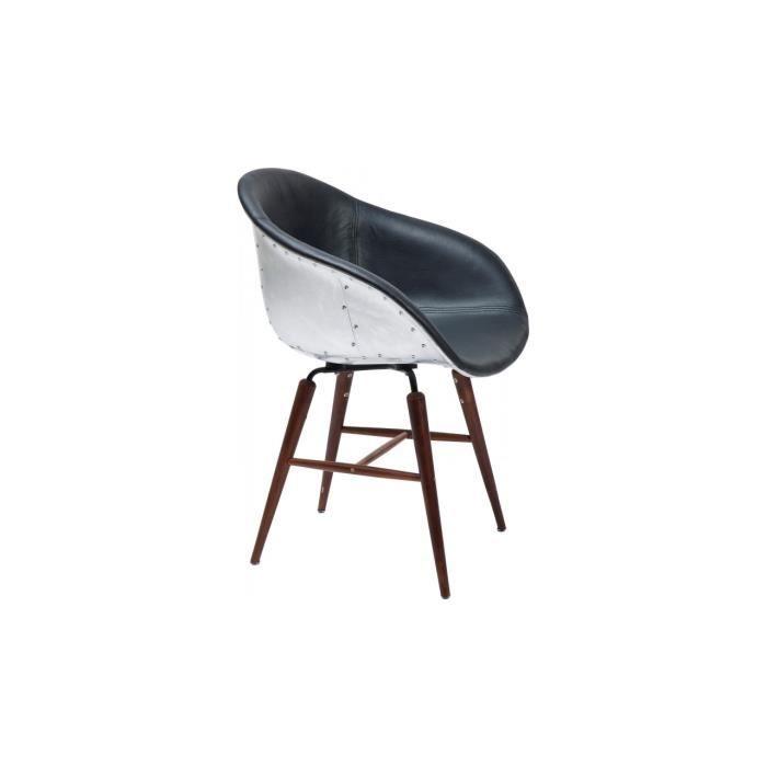chaise bauhaus industriel noir alu pied en bois achat vente chaise bois aluminium cuir. Black Bedroom Furniture Sets. Home Design Ideas