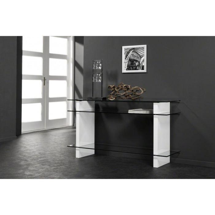 console en verre et laqu e blanche avec 3 plateaux achat vente console console en verre et. Black Bedroom Furniture Sets. Home Design Ideas