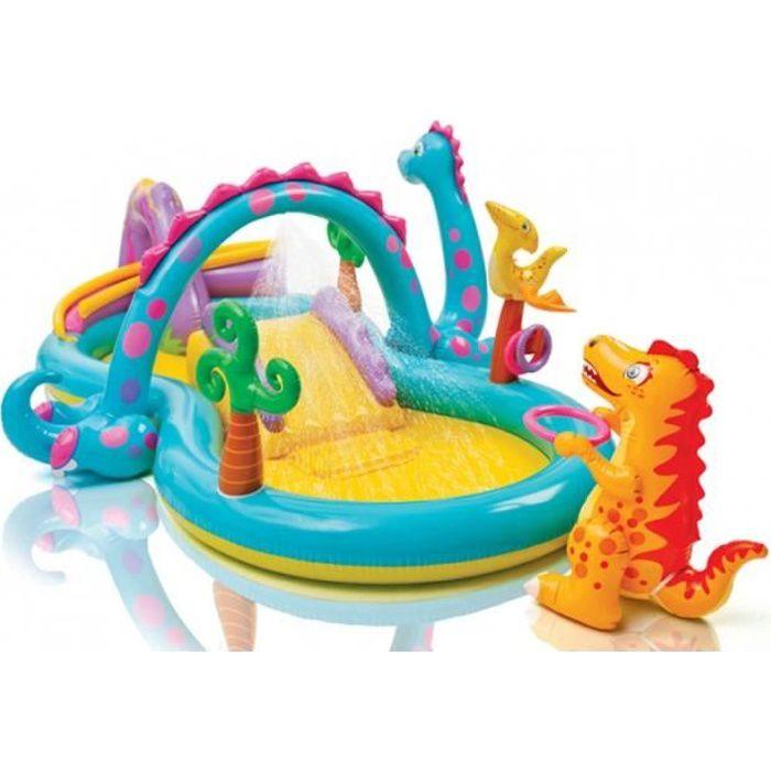 Piscine aire de jeu gonflable dinoland avec toboggan for Aire de jeu gonflable piscine