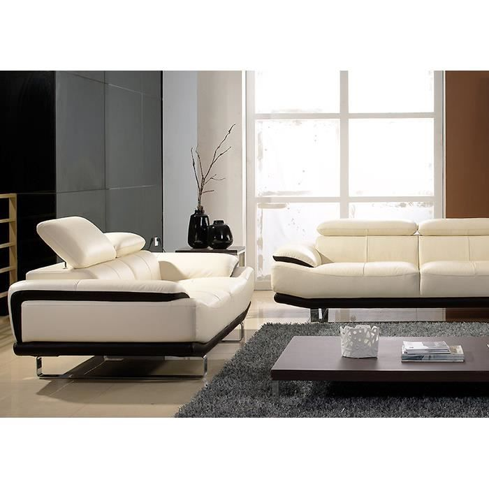 salon cuir prestige 3 2 places beige et noir osmoz achat vente canap sofa divan. Black Bedroom Furniture Sets. Home Design Ideas