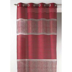 voilage gris et rouge achat vente voilage gris et rouge pas cher les soldes sur cdiscount. Black Bedroom Furniture Sets. Home Design Ideas