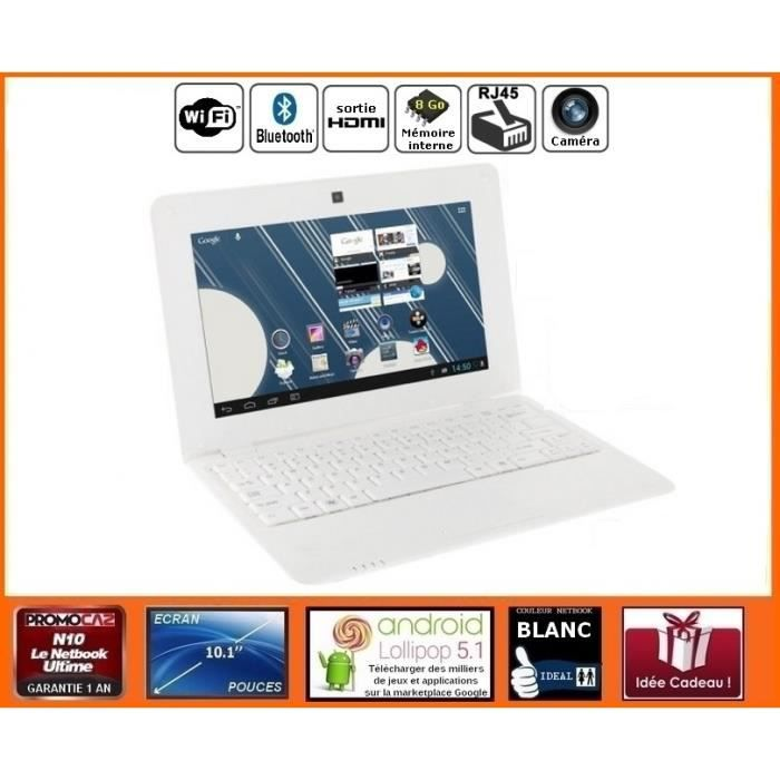netbook blanc android hdmi cran 10 1 pouces wifi sdhc. Black Bedroom Furniture Sets. Home Design Ideas