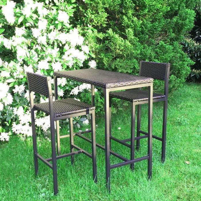set de 1 table + 2 chaises table mange-debout table haute cuisine ... - Chaise Haute Pour Mange Debout