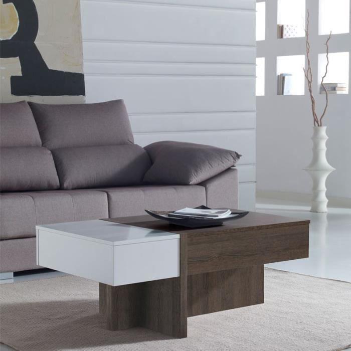 table basse relevable blanc ch ne fonc ajar taille l 110 x l 60 x h 44 58 couleur. Black Bedroom Furniture Sets. Home Design Ideas
