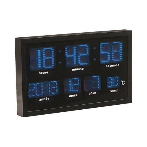 horloge murale radio pilot 233 e 224 led bleues achat vente horloge cdiscount