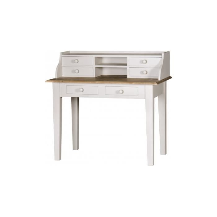Meuble secretaire blanc maison design for Meuble bureau 6 tiroirs