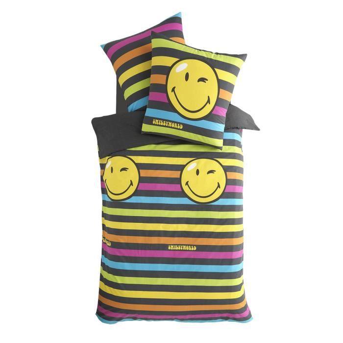 parure smiley goa lin 140x200cm 1 taie achat vente parure de drap cdiscount. Black Bedroom Furniture Sets. Home Design Ideas