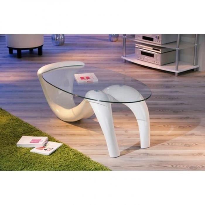 Table basse design bella laque blanche et beige en verre - Table basse laquee beige ...