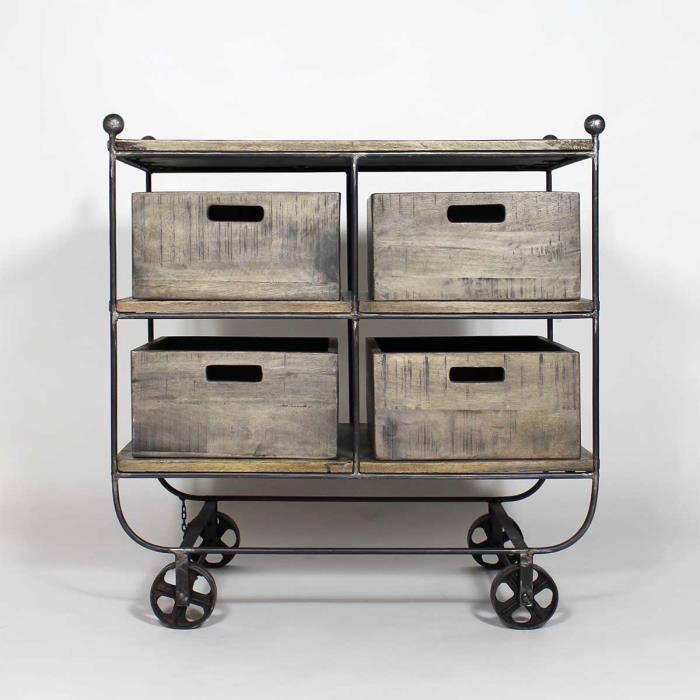 console industrielle bois et m tal 4 tiroirs if580. Black Bedroom Furniture Sets. Home Design Ideas