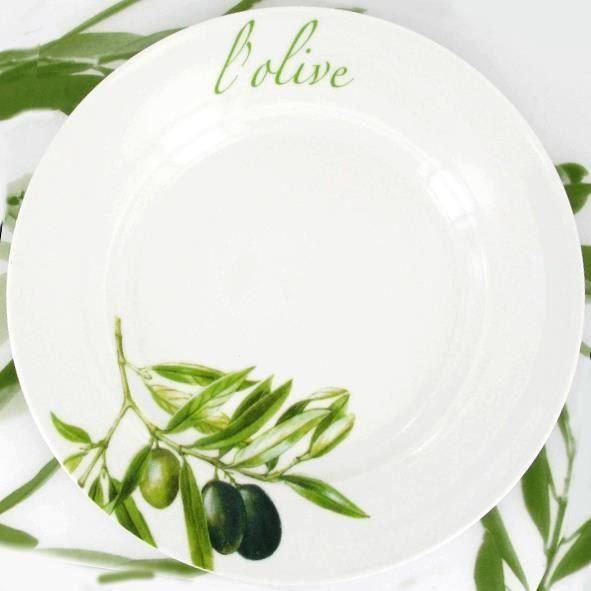 2 assiettes plates porcelaine l 39 olive achat vente - La maison de l olive nice ...