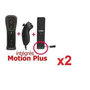 MANETTE CONSOLE Manette Motion Plus Wii + Nunshuck +Housse Noir x2