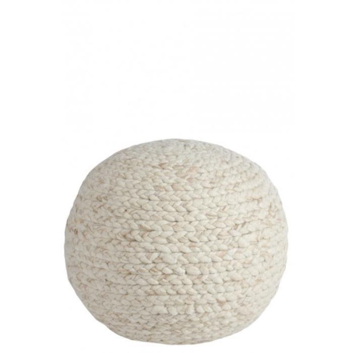 pouf rond tricote laine beige 50x50x35cm beige achat. Black Bedroom Furniture Sets. Home Design Ideas