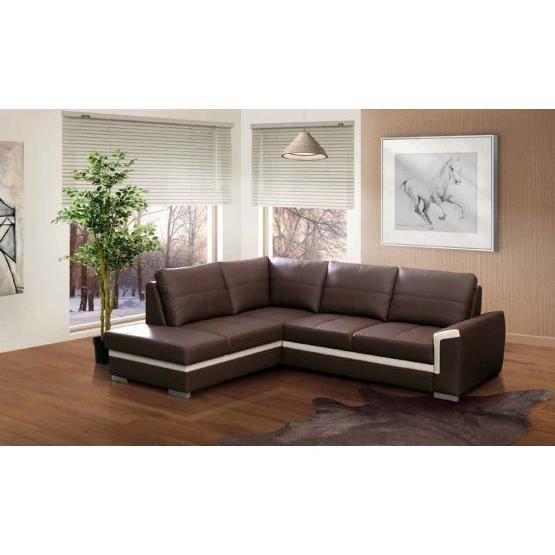 canap angle convertible vito marron blanc gauche achat vente canap sofa divan cuir. Black Bedroom Furniture Sets. Home Design Ideas