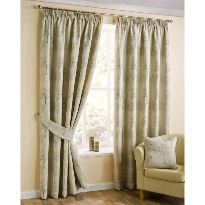 rideaux motif arbre cr me galon fronceur jacquard. Black Bedroom Furniture Sets. Home Design Ideas
