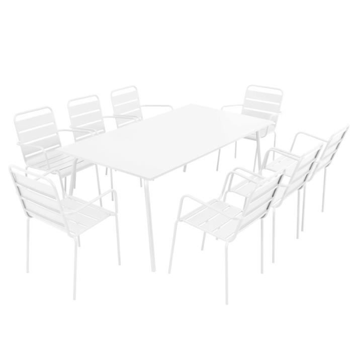 Salon de jardin en acier 8 places ensemble en acier blanc for Table jardin 8 personnes