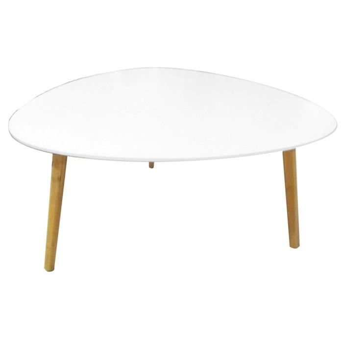 Table basse zoe blanc et bambou d 80 x h 40 5 cm achat for Table basse bambou