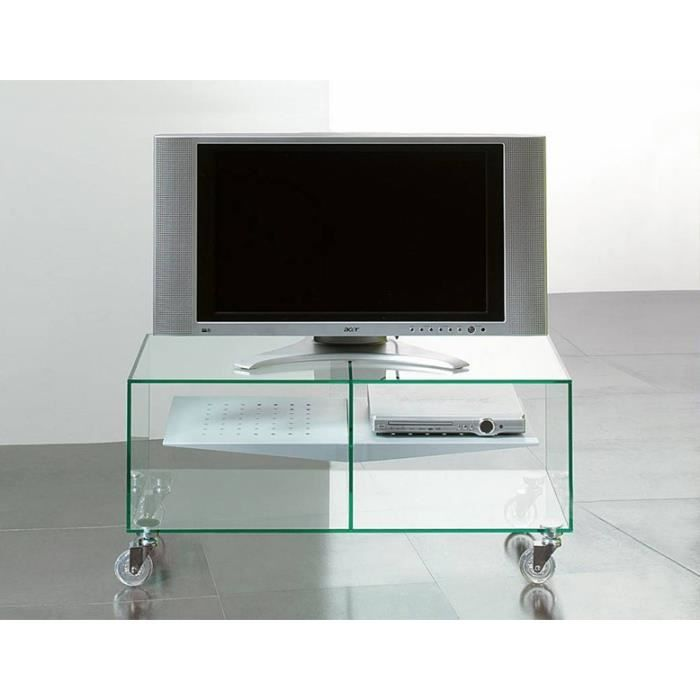 Meuble tv e box verre tremp roulettes achat vente meuble tv meuble tv e - Meuble tv a roulettes ...