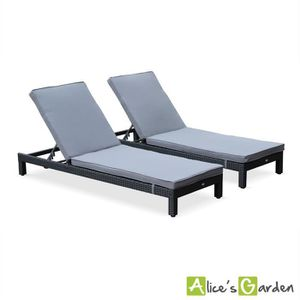 Chaise longue resine tressee noire achat vente chaise for Chaise longue en resine tressee pas cher