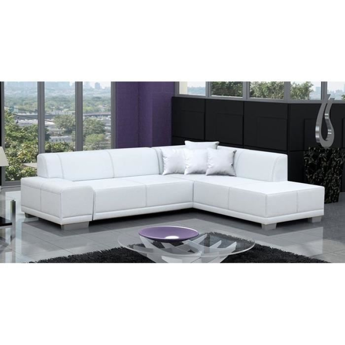 Canap d 39 angle blanc stella achat vente canap sofa for Canape 4 kinds