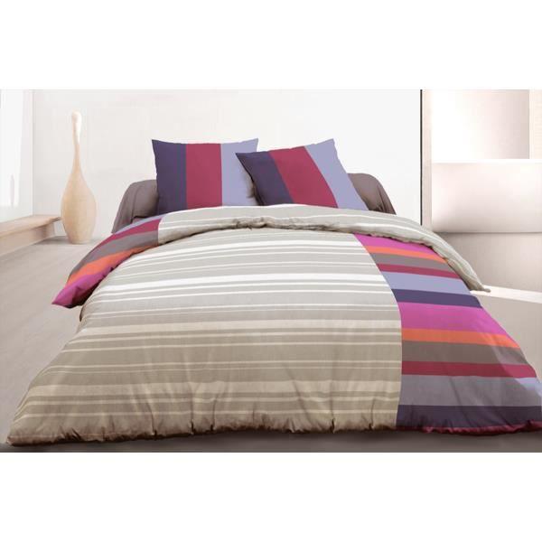 parure de couette 3 pcs 220x240 100 coton 57 fils rayures bordeaux achat vente parure de. Black Bedroom Furniture Sets. Home Design Ideas