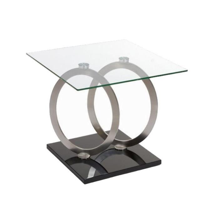 meuble téléphone design anneaux métal et verre 60x60cm - achat ... - Meuble Telephone Design