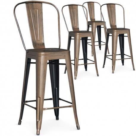 lot de 4 chaises de bar kiwi bronze achat vente chaise marron cdiscount. Black Bedroom Furniture Sets. Home Design Ideas