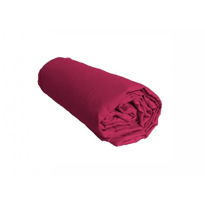 drap housse uni framboise percale de coton salom prestige. Black Bedroom Furniture Sets. Home Design Ideas
