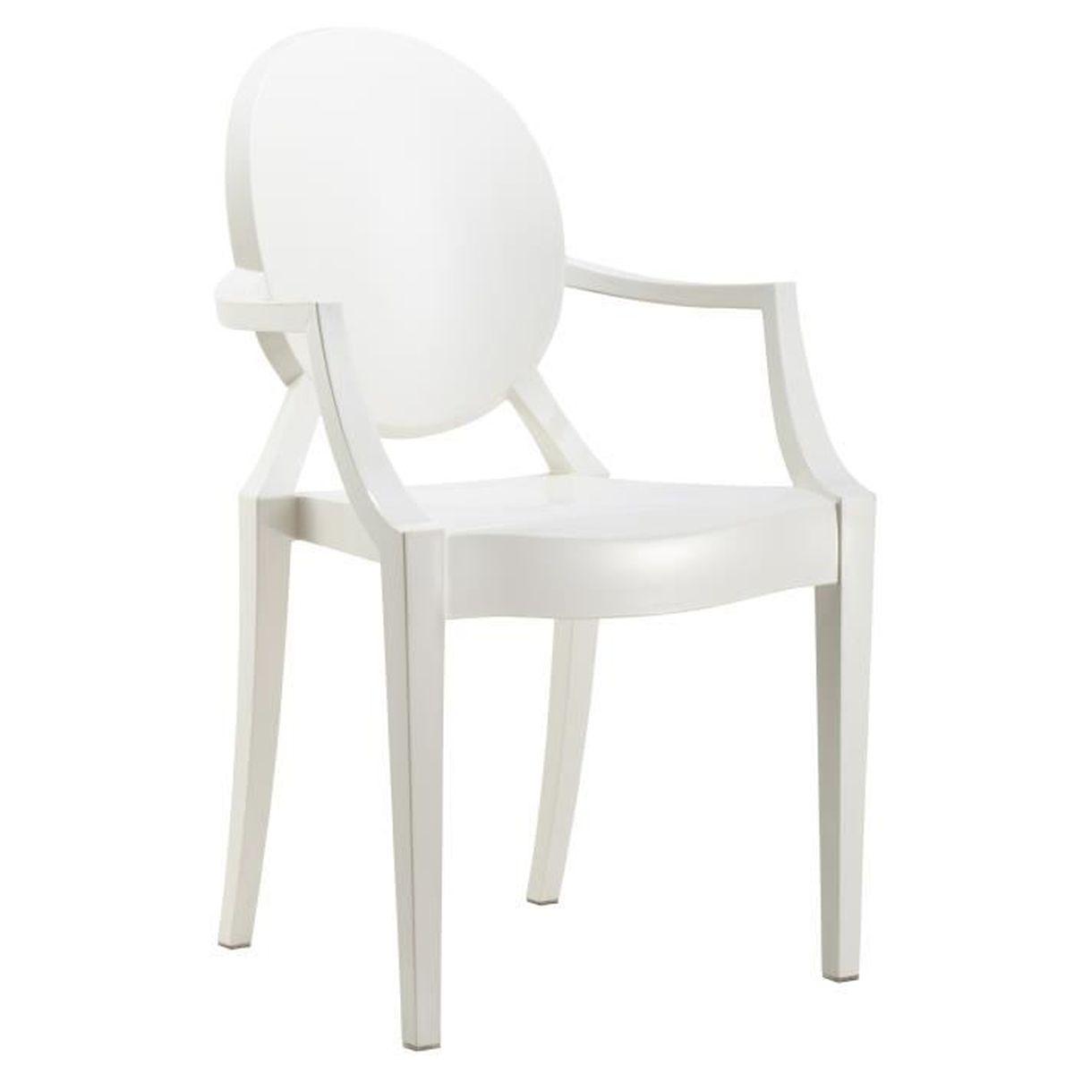 chaise avec accoudoirs design ghost coloris blanc blanc achat vente chaise cdiscount. Black Bedroom Furniture Sets. Home Design Ideas