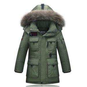 parka capuche fourrure enfant gar on manteau bl vert arm e achat vente parka les soldes. Black Bedroom Furniture Sets. Home Design Ideas