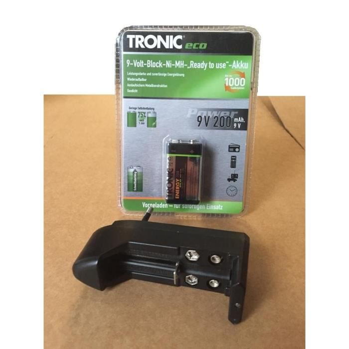 Pile batterie rechargeable tronic eco chargeur 9v ni mh - Pile 9v rechargeable ...
