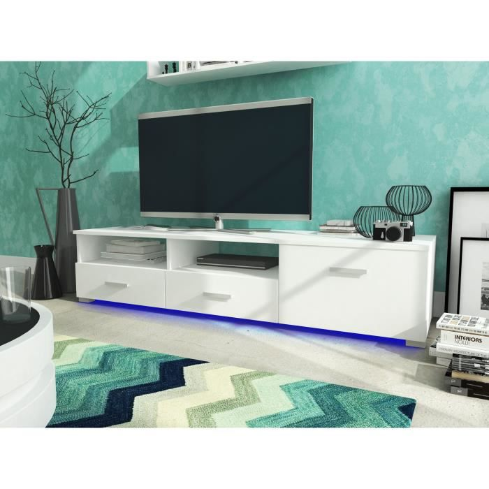 meuble tv celia led blanc blanc mat achat vente meuble tv meuble tv celia led blanc. Black Bedroom Furniture Sets. Home Design Ideas