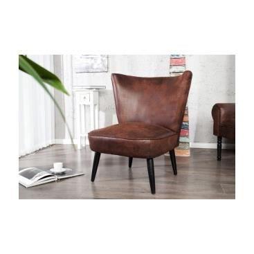 Fauteuil vintage dany marron achat vente fauteuil polyur thane bois soldes cdiscount for Petit fauteuil salon design