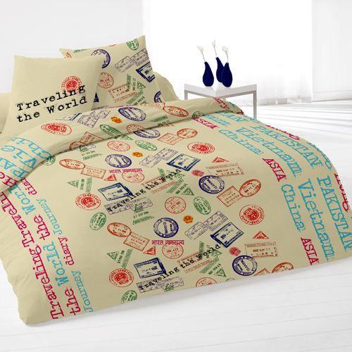 housse de couette et deux taies passport beige achat. Black Bedroom Furniture Sets. Home Design Ideas