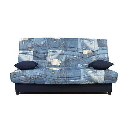 Banquette lit clic clac 130cm 26kg motif jeans achat vente clic clac tis - Banquette clic clac couchage quotidien ...