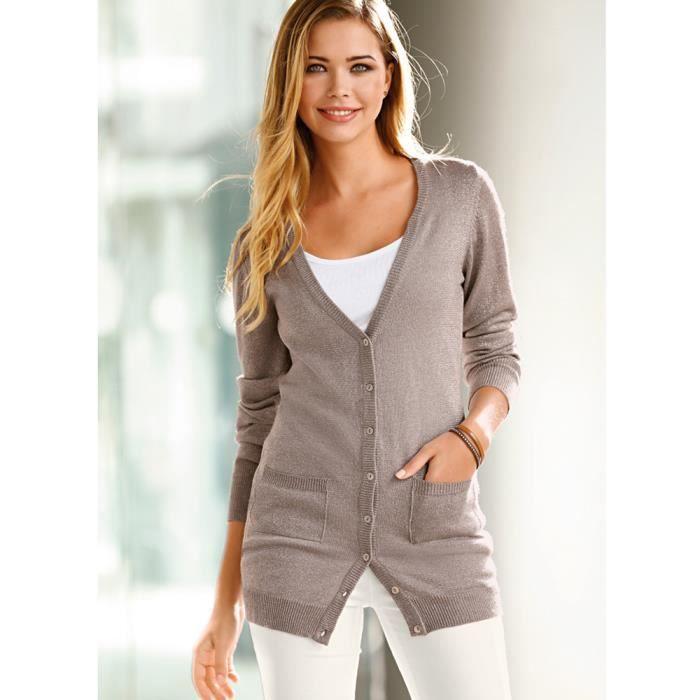 veste longue manches longues en tricot femme venca achat vente veste cdiscount. Black Bedroom Furniture Sets. Home Design Ideas