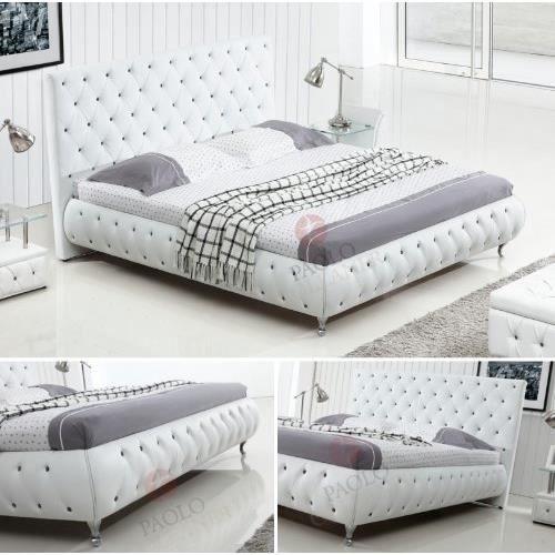 lit design similicuir blanc avec cristaux 140x200 achat vente structure de lit cdiscount. Black Bedroom Furniture Sets. Home Design Ideas