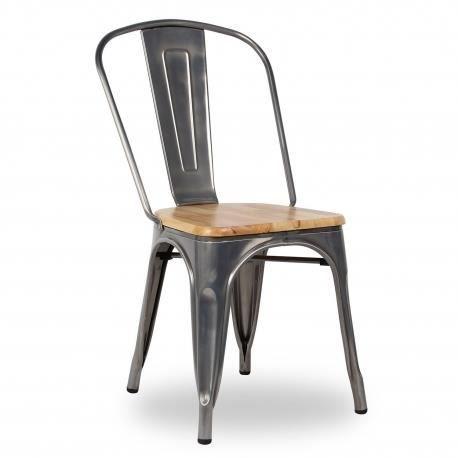 Chaise inspiration Industriel assise bois (Métal) - Achat / Vente ...