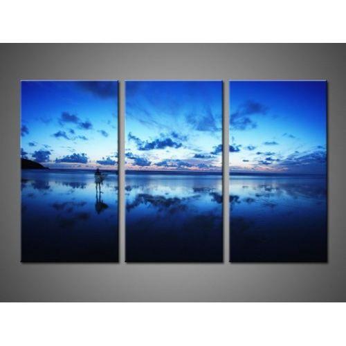 Tableau triptyque bleu ciel achat vente tableau toile cdiscount - Peinture sur toile triptyque ...