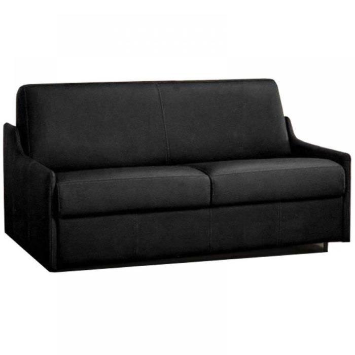 canap lit 2 3 places luna convertible rapido 120cm microfibre noir achat vente canap. Black Bedroom Furniture Sets. Home Design Ideas